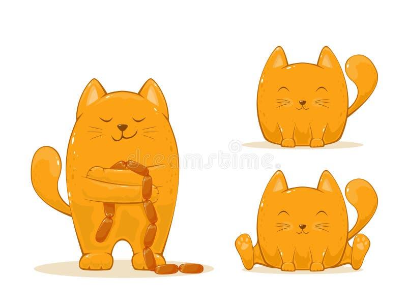 Fije de gatos felices rojos stock de ilustración