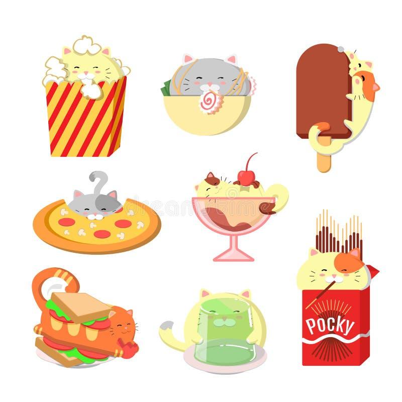 Fije de gatos lindos con la comida Gatos del vector de Kawaii stock de ilustración