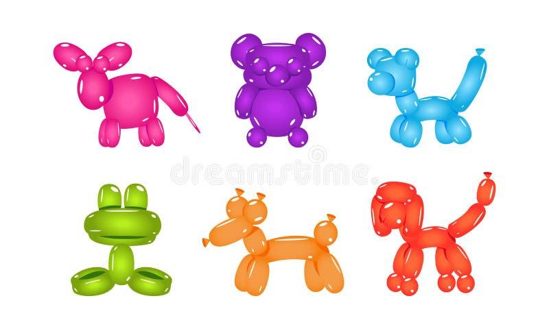 Fije de globos en la forma de diversos animales Juguetes inflables de los niños Vector plano para la postal o el cartel del parti stock de ilustración