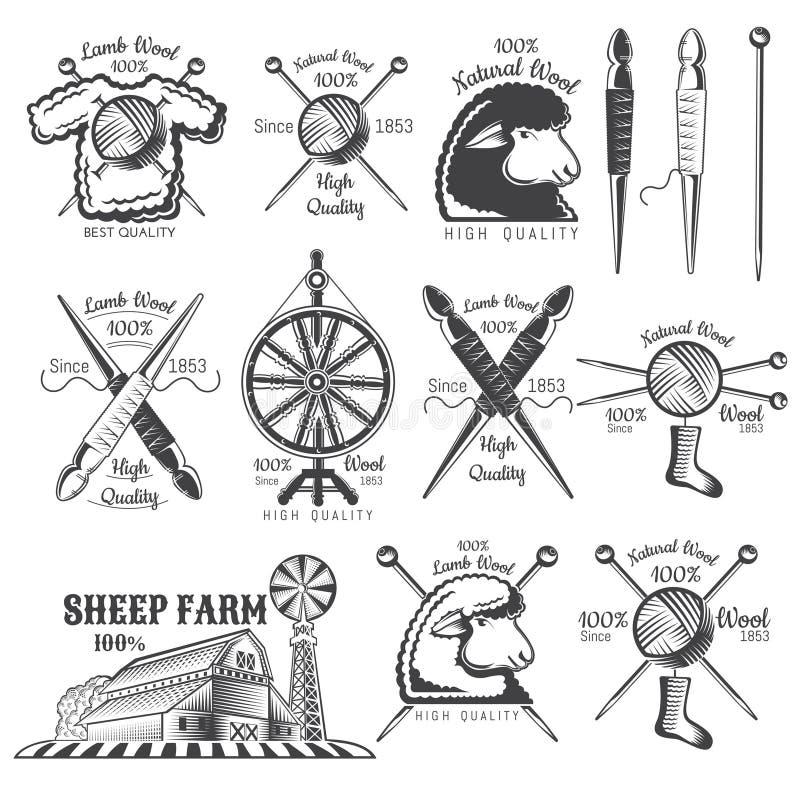 Fije de granja de las ovejas de las lanas de las etiquetas El logotipo para el arte hecho punto relacionó el sitio o el negocio a stock de ilustración