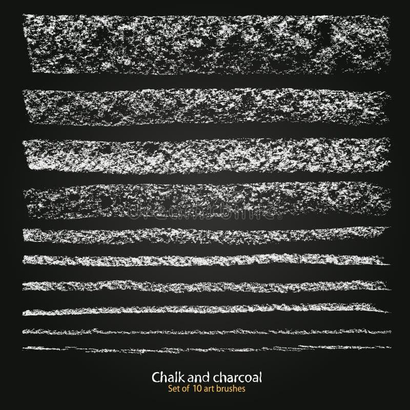 Fije de grunge del vector cepilla diversa grueso y tiesura, pincelada creada con tiza y carbón de leña ilustración del vector