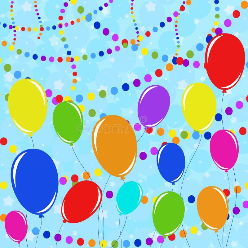 Fije de guirnaldas y de globos aislados coloreados planos en cuerdas Contra un fondo del confeti multicolor conveniente para el d ilustración del vector