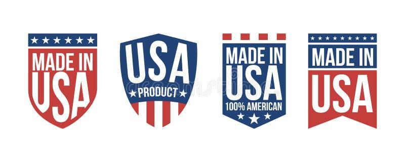Fije de 4 hechos en las etiquetas de los E.E.U.U., etiquetas engomadas Muestras patrióticas de los E.E.U.U. Plantilla de las band ilustración del vector