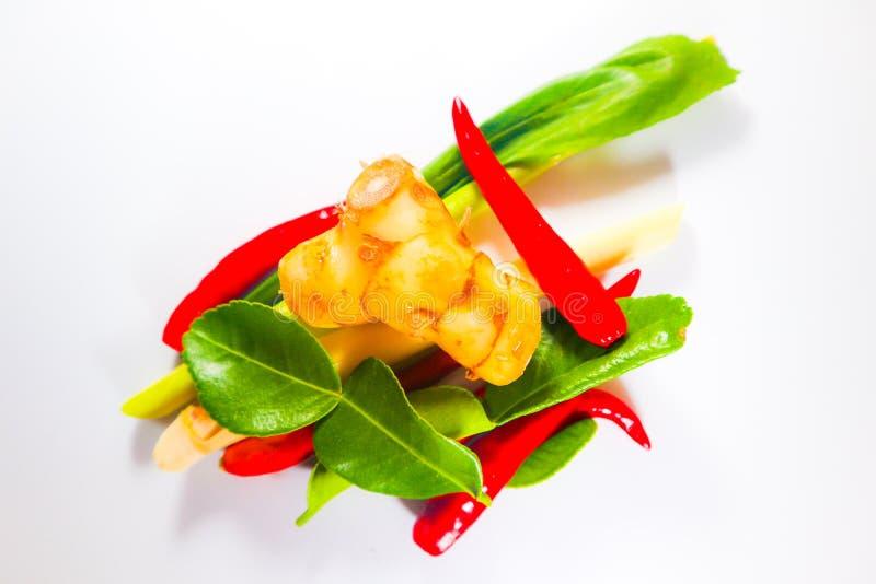 Fije de hierbas y de ingredientes frescos de la comida o de tom picante tailandesa yum en el fondo aislado blanco fotografía de archivo
