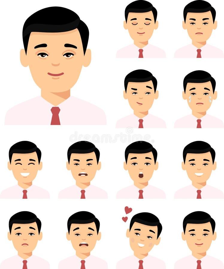 Fije de hombre asiático de diverso avatar en estilo plano colorido libre illustration