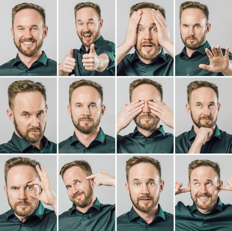 Fije de hombre hermoso con diversos emociones y gestos imagen de archivo libre de regalías