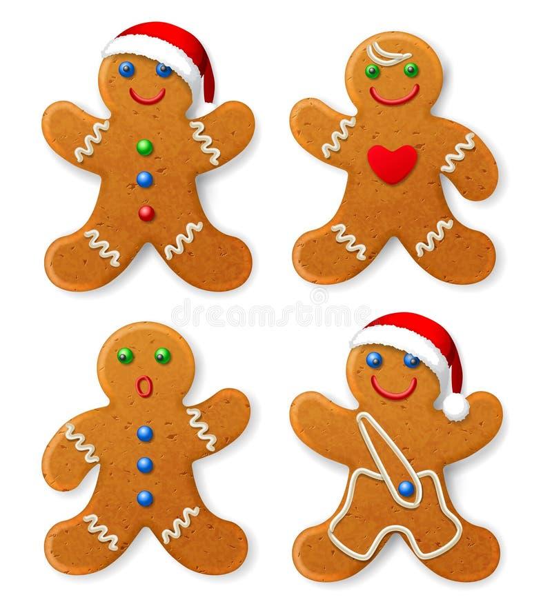 Fije de hombre de pan de jengibre de la Navidad del vector en un sombrero de Papá Noel, adornado con la formación de hielo stock de ilustración
