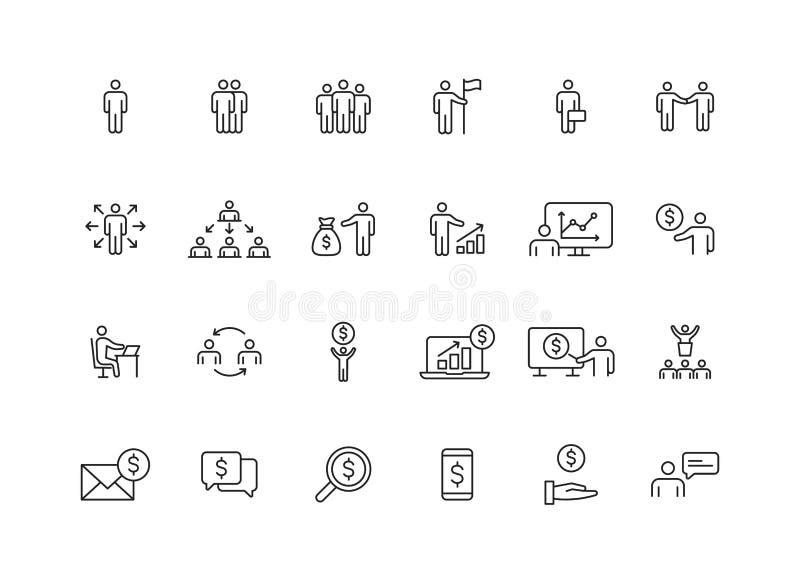 Fije de 24 hombres de negocios y de iconos de la web del trabajo en equipo en la l?nea estilo Negocio, trabajo en equipo, direcci stock de ilustración