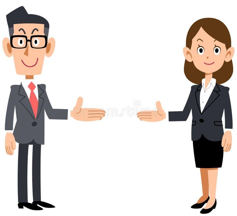 Fije de hombres y de mujeres del oficinista presentado en ambos lados libre illustration