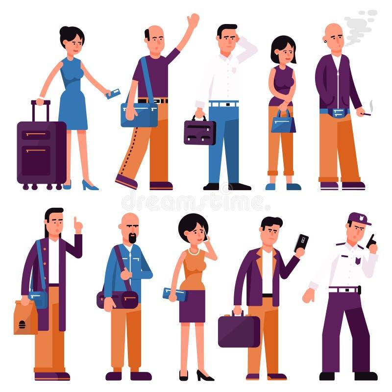 Fije de hombres y de mujeres de la gente con los bolsos y las maletas ilustración del vector