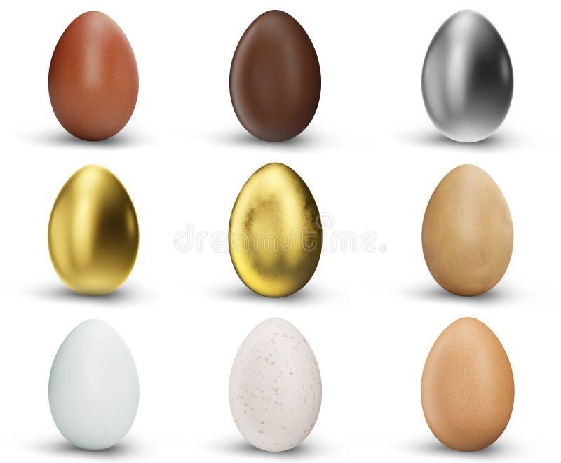 Fije de 9 huevos hermosos aislados en el fondo blanco Huevos de oro, de la plata, del chocolate, del marrón y blancos Huevos como ilustración del vector