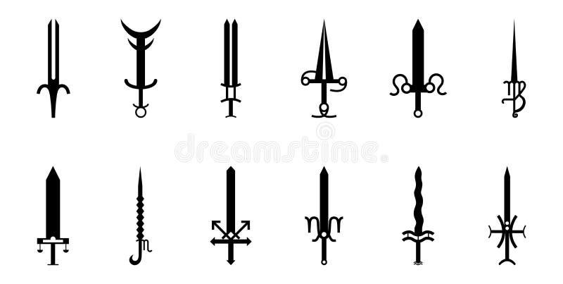Fije de icono de las espadas del zodiaco Colección zodiacal del arma Ejemplo para su diseño, web del vector ilustración del vector