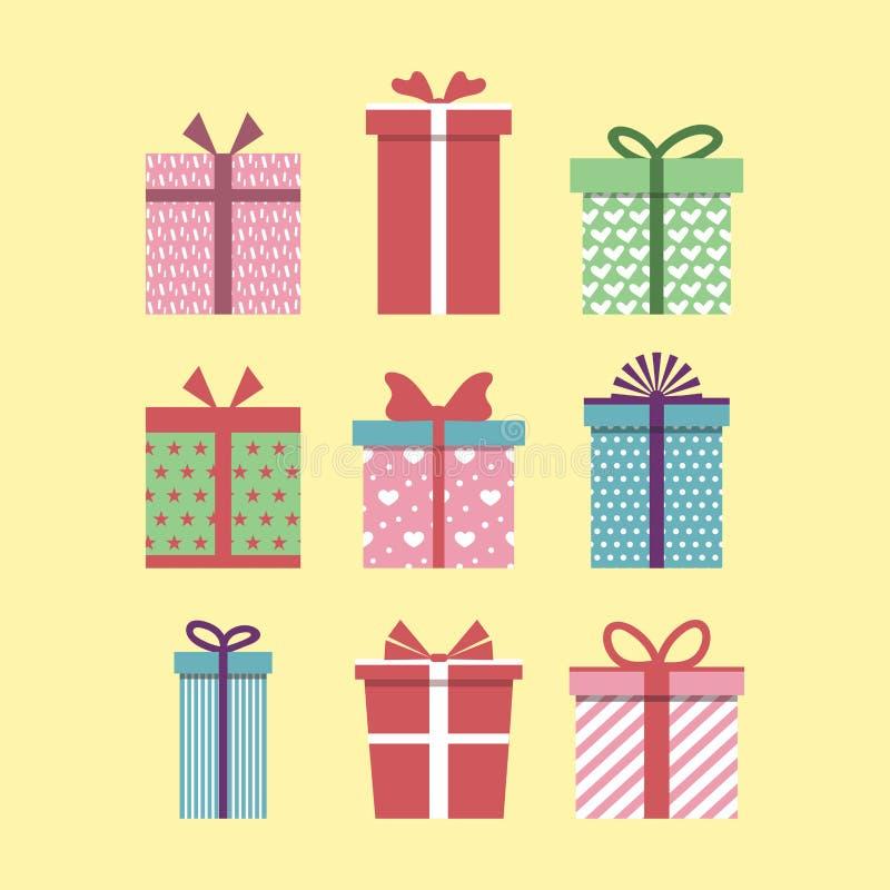 Fije de iconos coloridos de las cajas de regalo Dise?o plano para el regalo de Navidad, presente de la tarjeta del d?a de San Val ilustración del vector