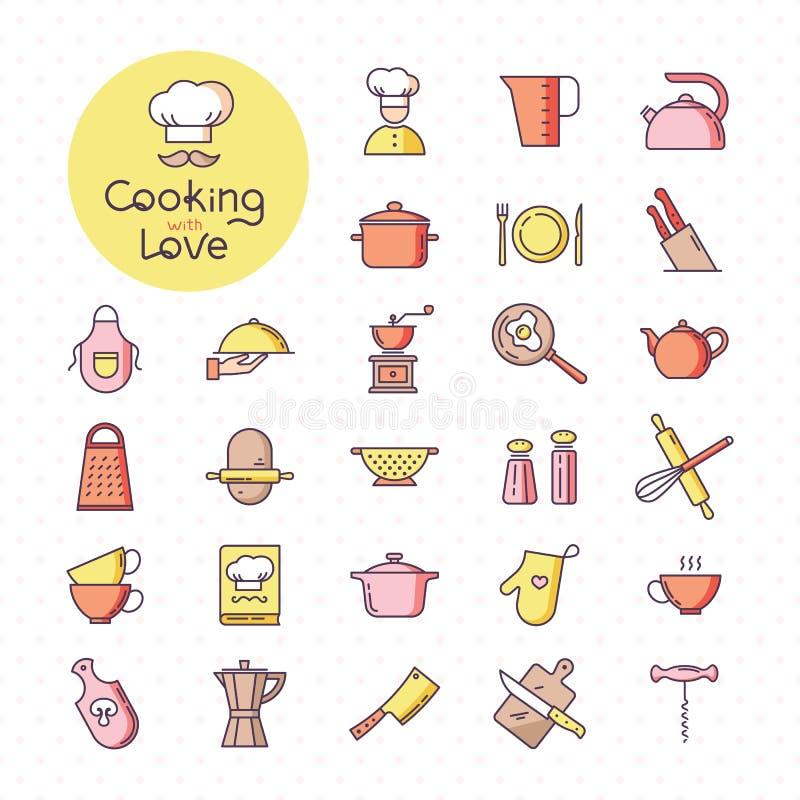 Fije de iconos coloridos pixel-perfectos de la cocina, aislado en el fondo blanco libre illustration