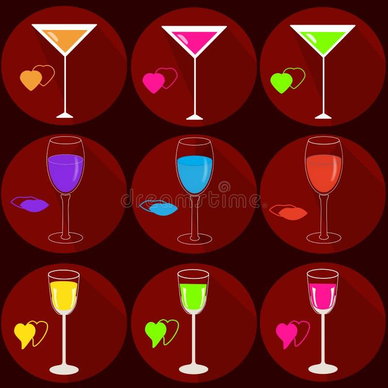Fije de iconos con las bebidas stock de ilustración
