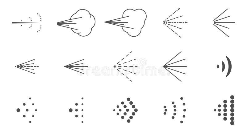 Fije de iconos con las variantes de la imagen de un espray flúido, espray de aerosol en distintas maneras ilustración del vector