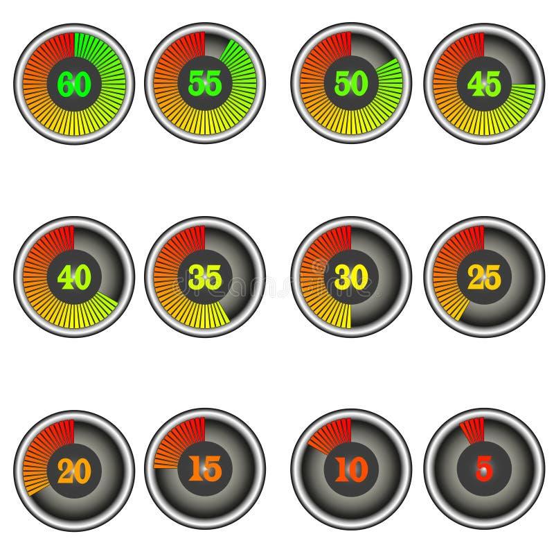 Fije de iconos del contador de tiempo del cronómetro del color con las marcas de 60 a 0 libre illustration
