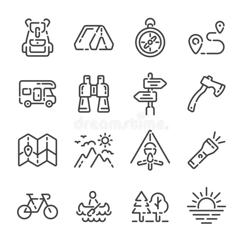Fije de iconos del esquema de la acampada o del turismo Ilustraci?n del vector fotos de archivo