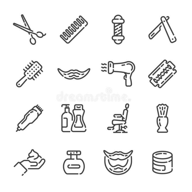 Fije de iconos del esquema de la barbería o de la peluquería Ilustraci?n del vector imagen de archivo libre de regalías