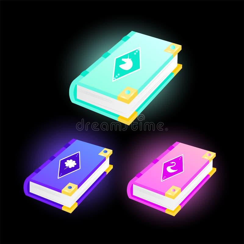 Fije de iconos del juego de libros con un cisne, un unicornio y un trébol en las cubiertas ilustración del vector