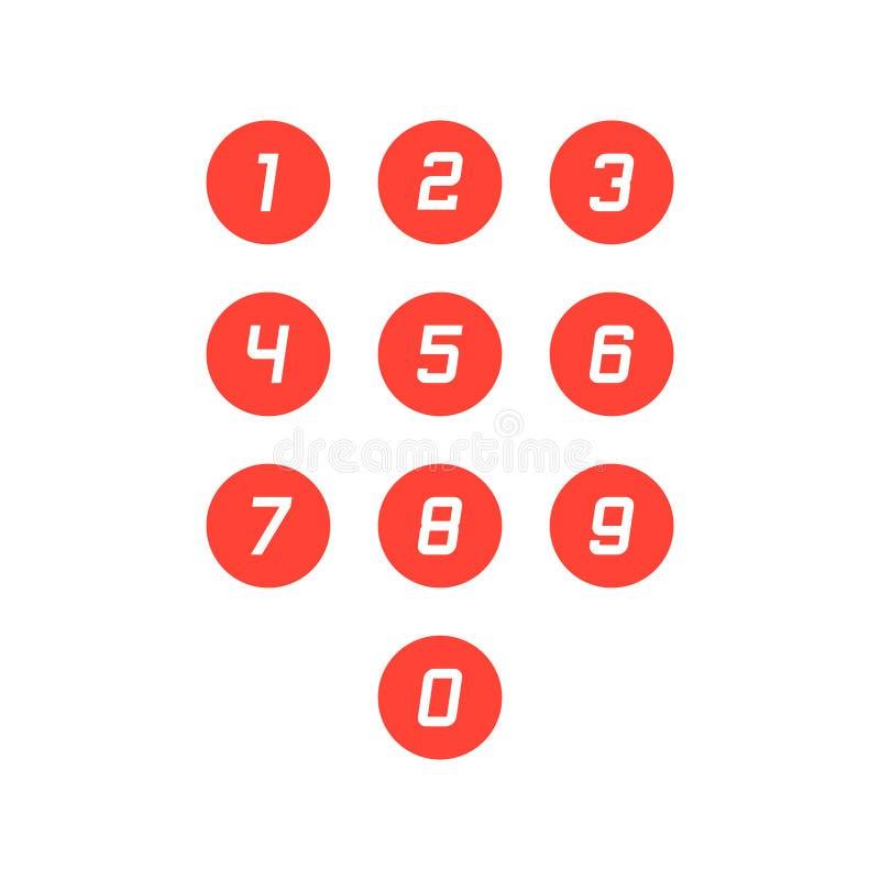 Fije de iconos del n?mero de la ronda 0-9 Ilustraci?n del vector ilustración del vector