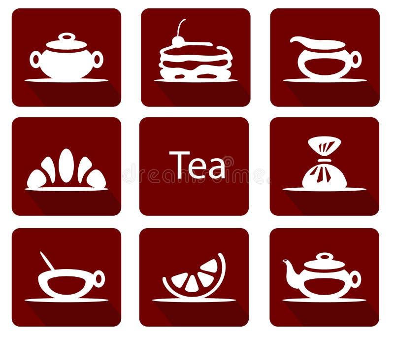 Fije de iconos del té con el cruasán de la torta del limón del caramelo stock de ilustración