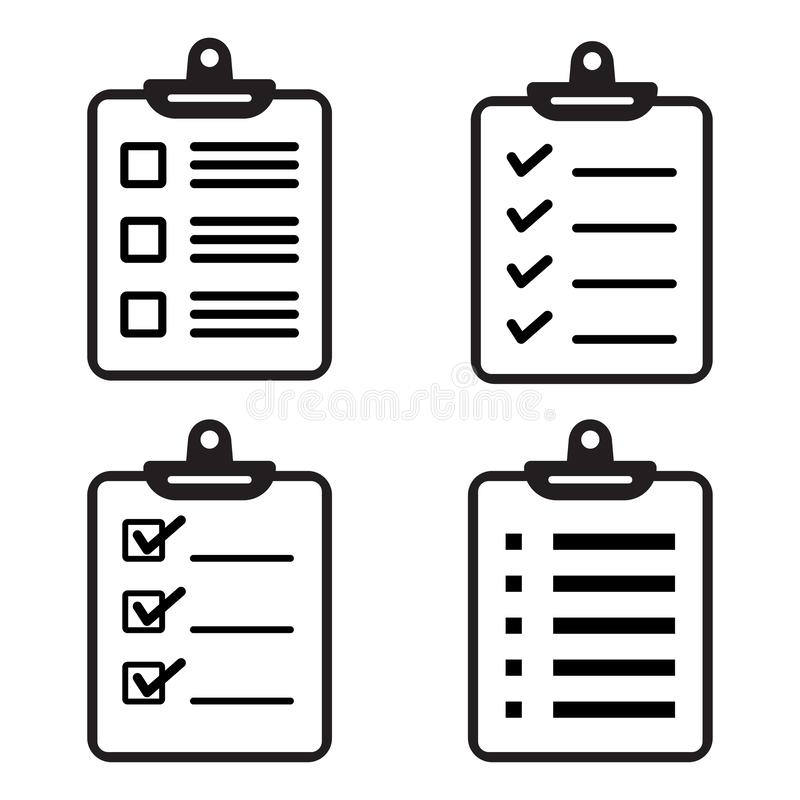 Fije de iconos del tablero o de la lista de control Ilustración del vector stock de ilustración