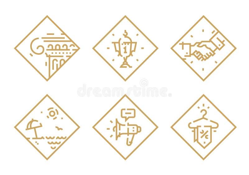 Fije de iconos del vector en diversos temas Iconos aislados en el fondo blanco taza La columna griega Relájese en la playa megáfo ilustración del vector