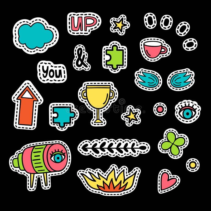 Fije de iconos del vector en estilo del arte pop Fuego, trébol, telescopio, corazón, taza, inscripción, nube de alas del ojo de l stock de ilustración