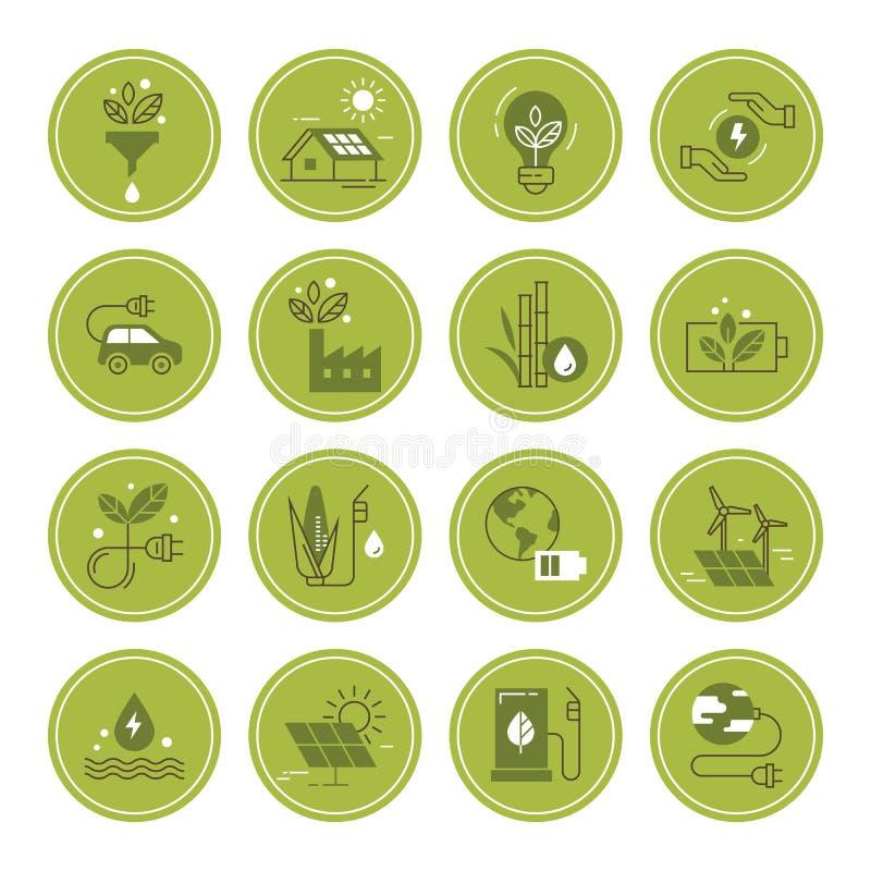 Fije de iconos del vector de la energ?a limpia en estilo plano libre illustration