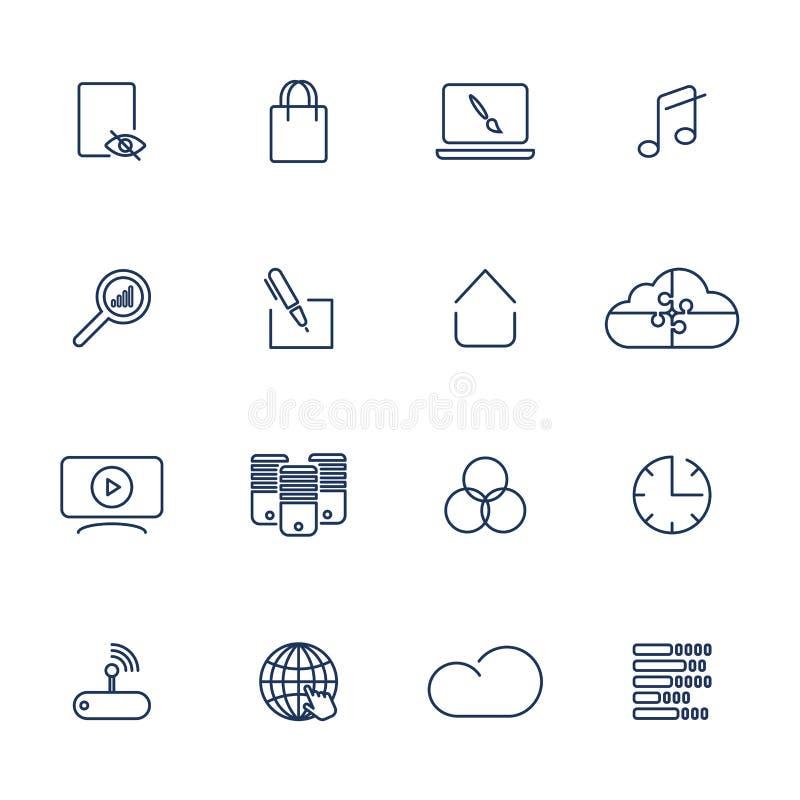 Fije de 16 iconos del vector para el software, el uso o las p?ginas web - los medios y tecnolog?a sociales libre illustration