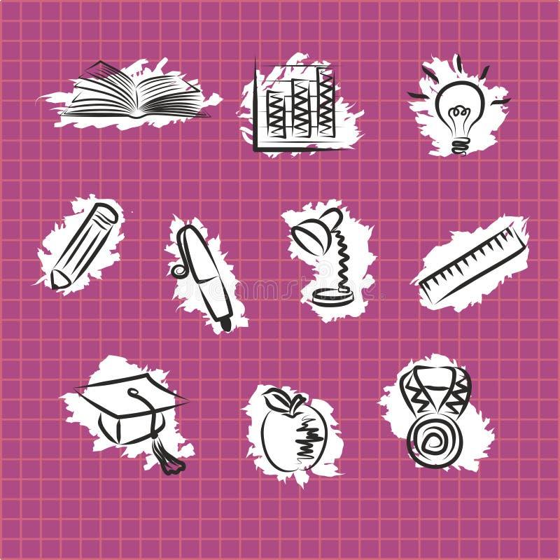 Fije de iconos educativos del esquema simple monocromático en fondo cuadrado rosado Cliparts planos del vector de los efectos de  stock de ilustración
