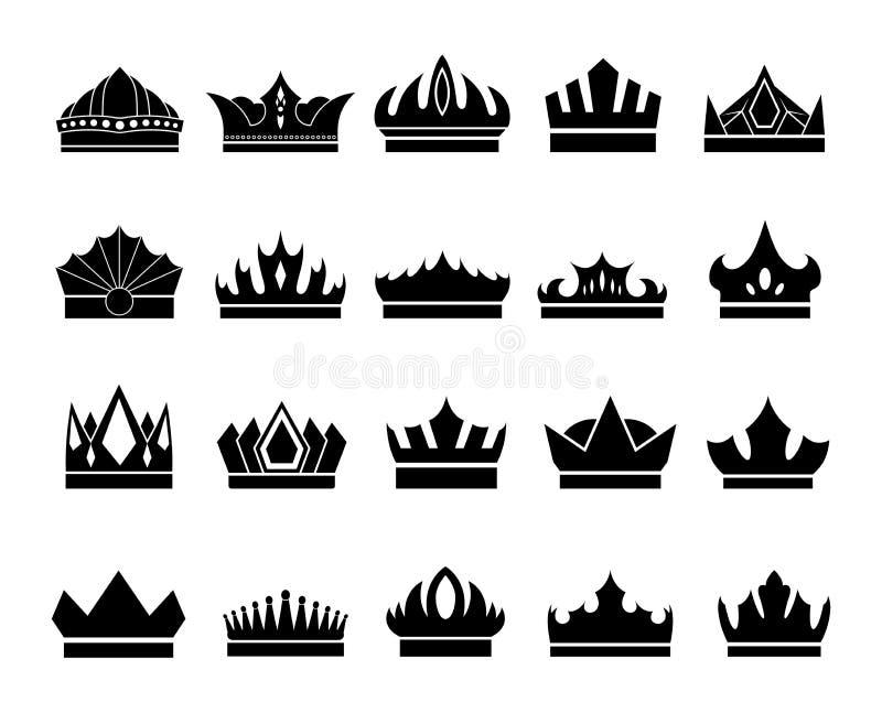 Fije de iconos elegantes de la corona en el fondo blanco libre illustration