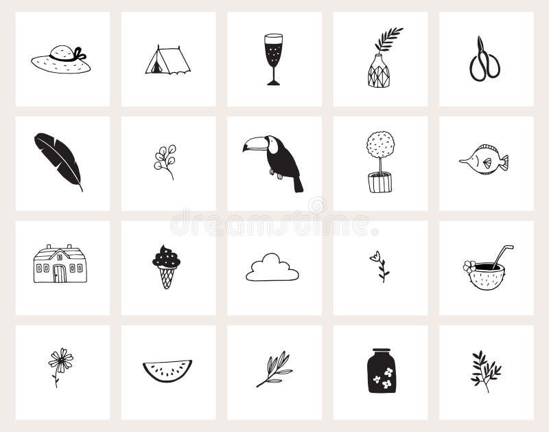 Fije de iconos exhaustos de la web del garabato de la mano L?nea arte Verano, vacaciones, concepto del viaje Dise?o blanco y negr libre illustration