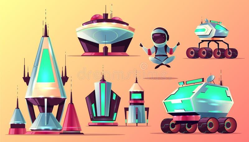 Fije de iconos de exploración del vector de la historieta del espacio futuro ilustración del vector