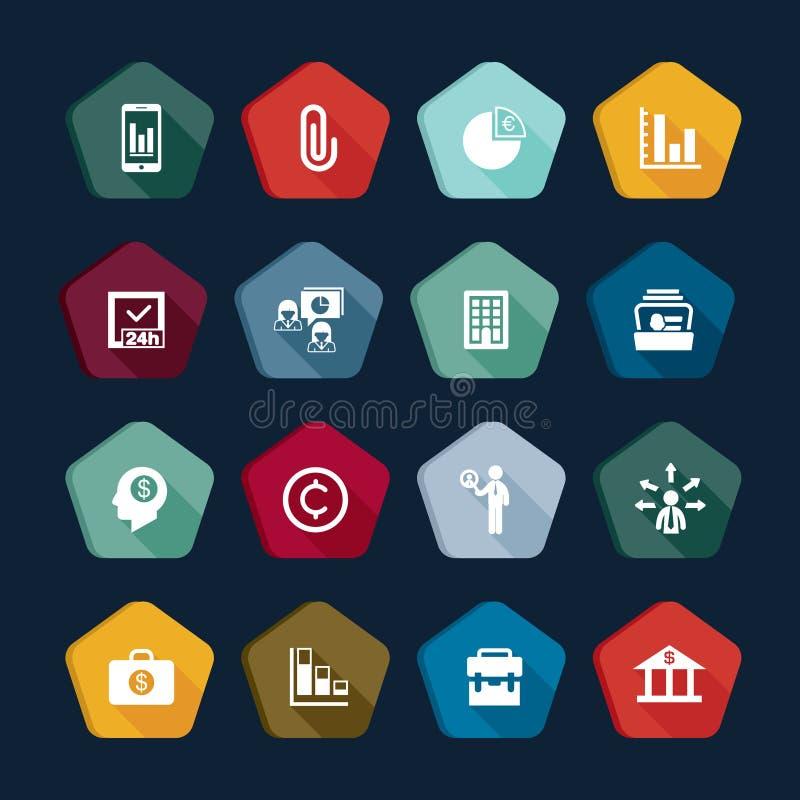 Fije de iconos de la colección de los vectores del negocio: gráfico, carta, equipo, usuario, global, gestión, actividades bancari stock de ilustración