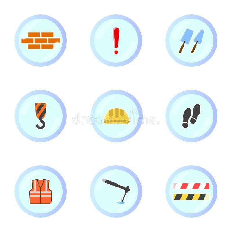 Fije de iconos de la construcción en marcos redondos Vector en el fondo blanco stock de ilustración