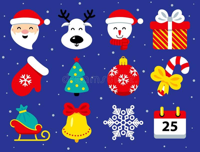 Fije de iconos de la Navidad en estilo plano en azul stock de ilustración