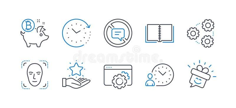 Fije de iconos de la tecnología, tales como parada que habla, los engranajes, detección de la cara Vector stock de ilustración
