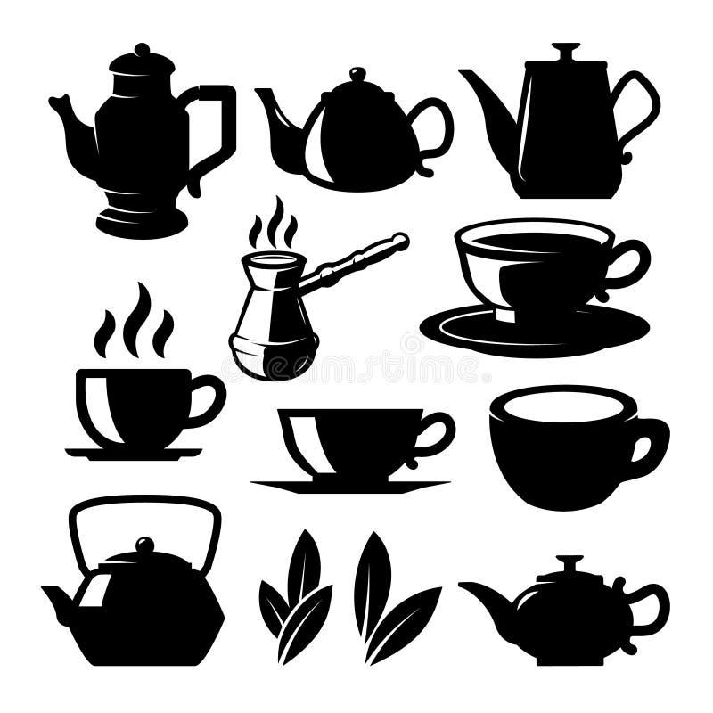 Fije de iconos de la tienda del té y de elementos del diseño Para el logotipo, etiqueta, muestra, cartel libre illustration