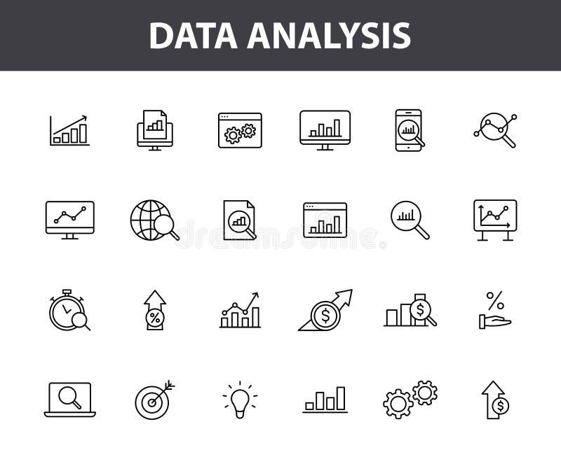Fije de 24 iconos de la web del análisis de datos en la línea estilo Gráficos, análisis, Big Data, crecimiento, carta, investigac stock de ilustración