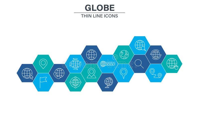 Fije de iconos de la web del planeta del globo y de la tierra en la línea estilo Equipo navegacional, tierra del planeta, aeropla libre illustration