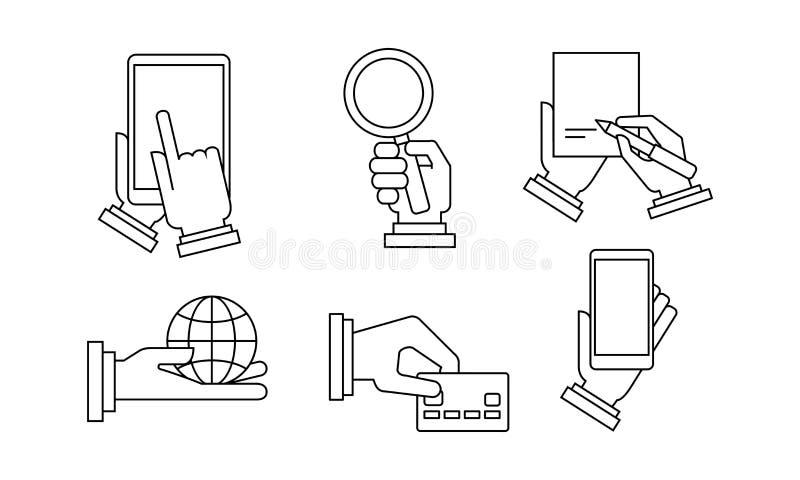 Fije de 6 iconos lineares del negocio Manos humanas que llevan a cabo diversos artículos Ejemplos modernos del vector ilustración del vector