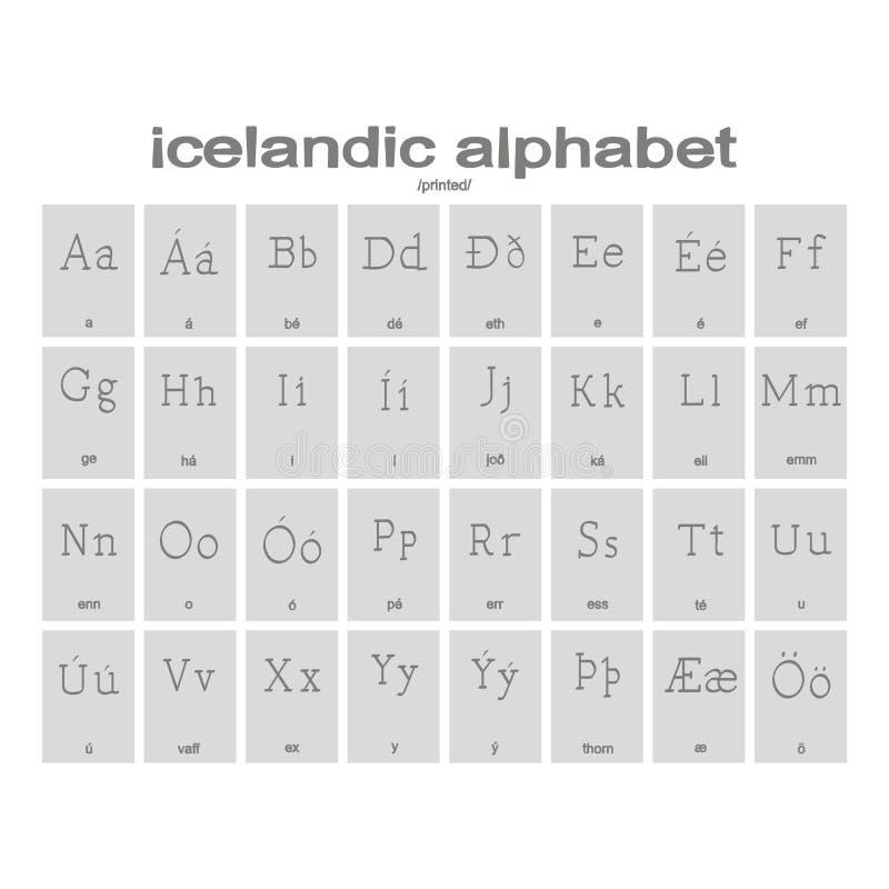 Fije de iconos monocromáticos con alfabeto islandés libre illustration