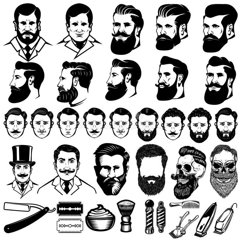 Fije de iconos monocromáticos del peluquero del vintage, los peinados de los hombres y los elementos del diseño aislados en el fo stock de ilustración