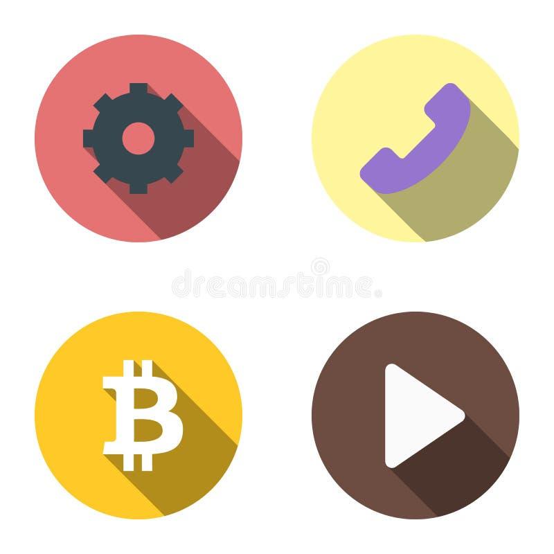 Fije de 4 iconos planos - engranaje, teléfono, bitcoin, comienzo ilustración del vector