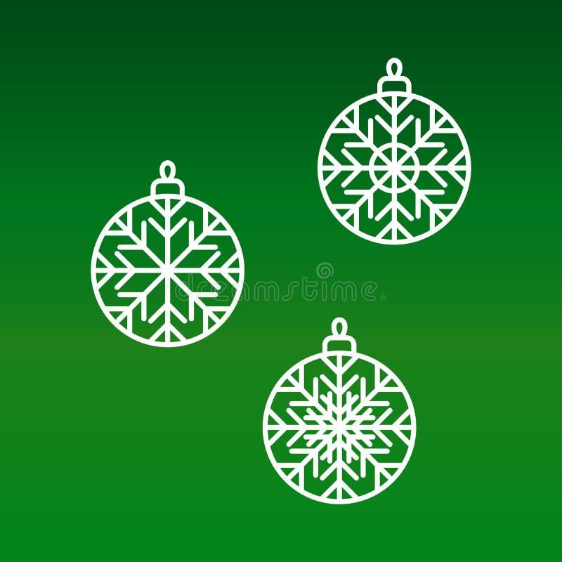 Fije de iconos planos gráficos blancos elegantes de la chuchería de la Navidad del vector stock de ilustración