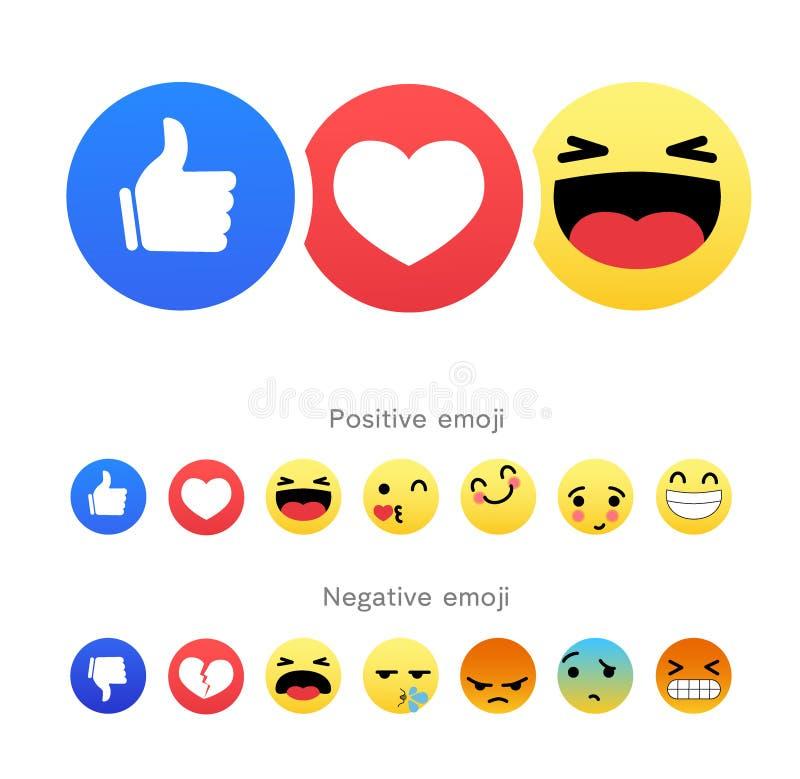 Fije de iconos redondos positivos y negativos del emoji ilustración del vector