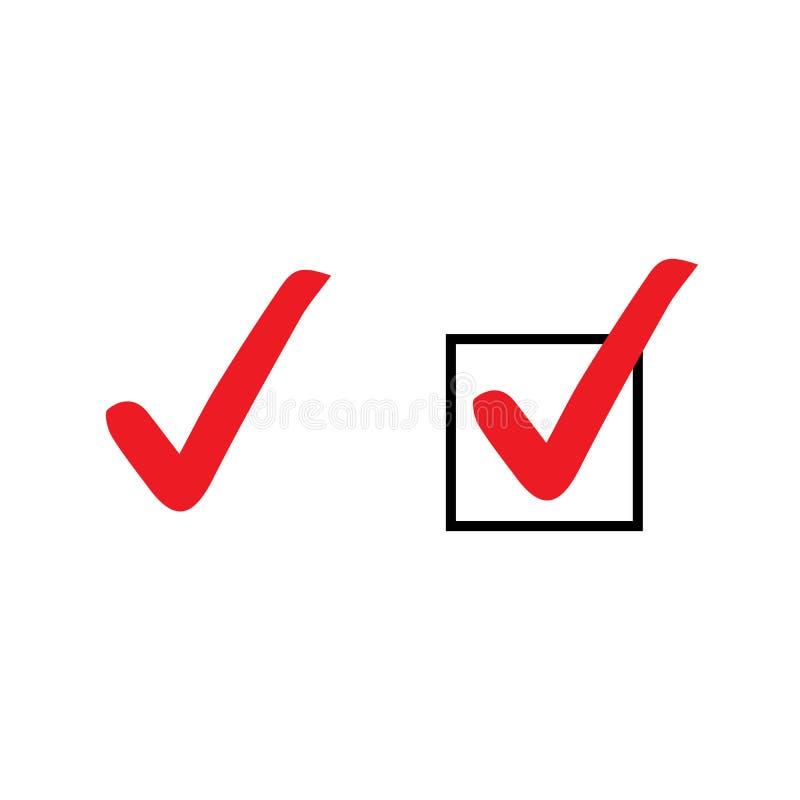 Fije de iconos rojos de la señal Sistema de símbolos del vector, colección de las marcas de cotejo aislada en el fondo blanco Ico libre illustration