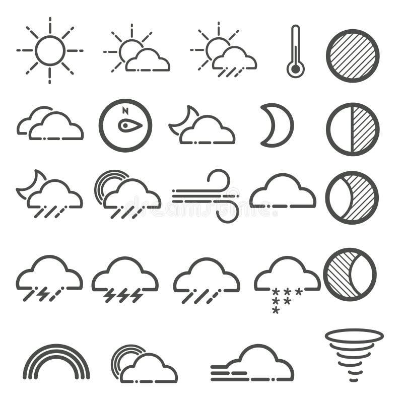 Fije de iconos simples del tiempo del contorno stock de ilustración